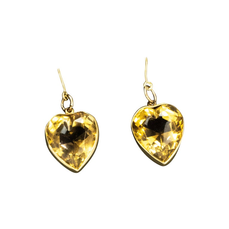 Vintage Citrine and 9 Carat Gold Heart Drop Earrings