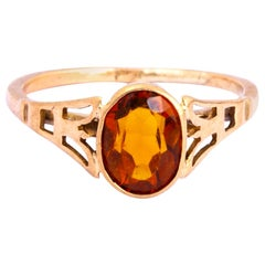 Vintage Citrine and 9 Carat Gold Ring