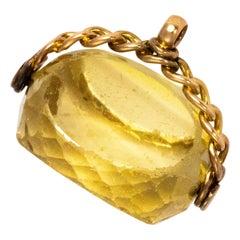 Vintage Citrine and 9 Carat Gold Swivel Fob Pendant