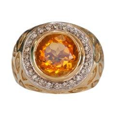 Vintage Citrine and Diamond Fashion Ring in 14 Karat Yellow Gold, circa 1960s