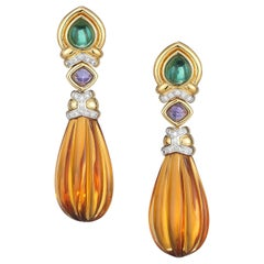 Citrine and Yellow Gold Fluted Earrings