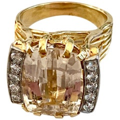 Vintage Citrine Cushion Cut and Diamond 18 Karat Yellow Gold Ring