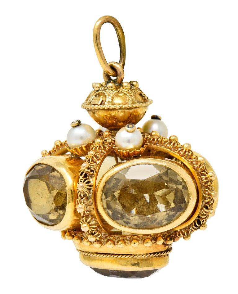 Contemporary Vintage Citrine Pearl 18 Karat Gold Ornate Crown Pendant For Sale