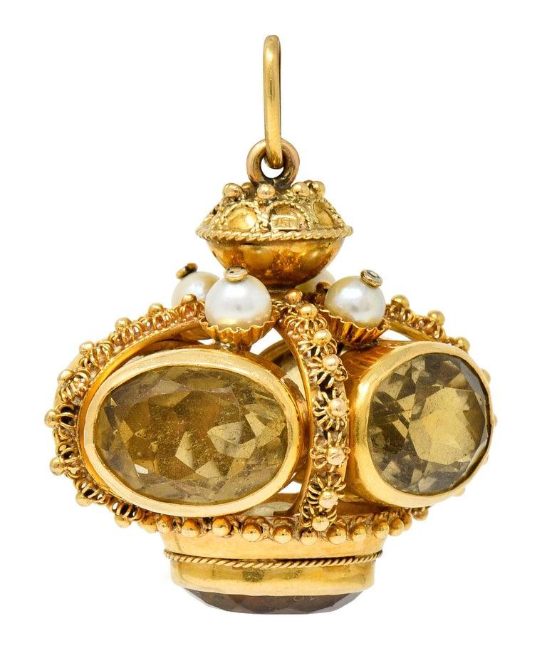 Oval Cut Vintage Citrine Pearl 18 Karat Gold Ornate Crown Pendant For Sale
