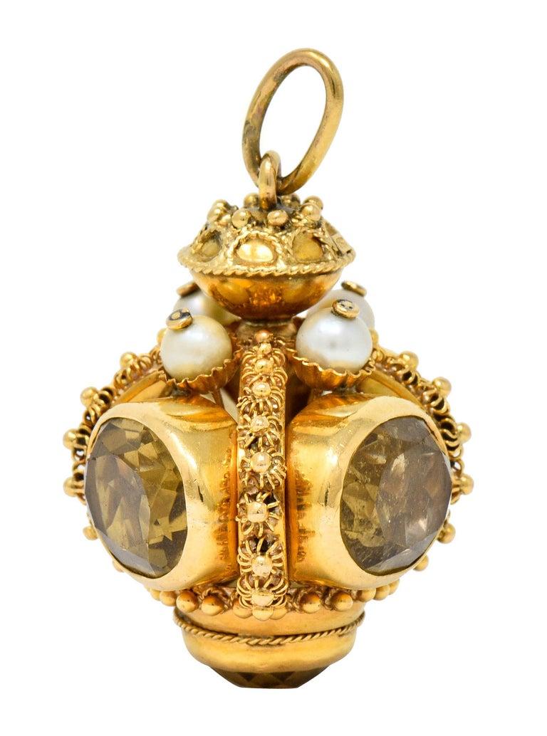 Vintage Citrine Pearl 18 Karat Gold Ornate Crown Pendant For Sale 1
