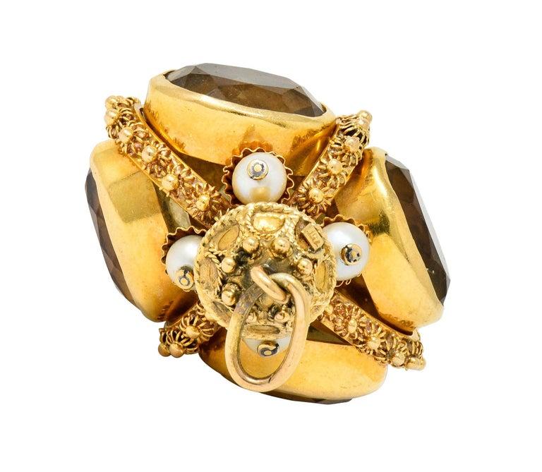 Vintage Citrine Pearl 18 Karat Gold Ornate Crown Pendant For Sale 2