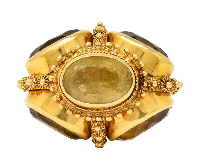Vintage Citrine Pearl 18 Karat Gold Ornate Crown Pendant For Sale 3
