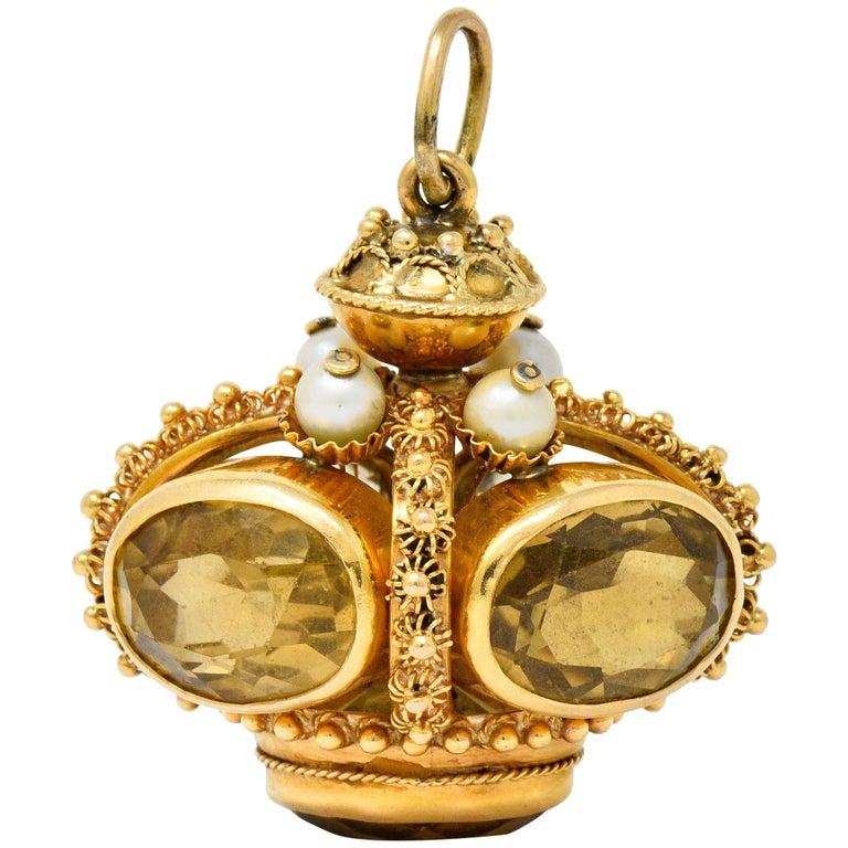 Vintage Citrine Pearl 18 Karat Gold Ornate Crown Pendant For Sale