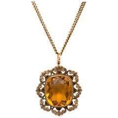 Vintage Citrine Pendant Necklace 14 Karat Gold, circa 1950s Jewelry