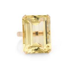 Vintage Citrine Ring 18 Karat Yellow Gold Large Statement Cocktail Emerald Cut