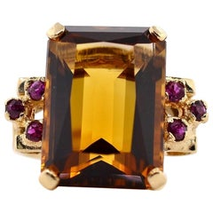 Vintage Citrine Ruby Gold Ring