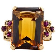 Vintage Citrine Ruby Gold Ring