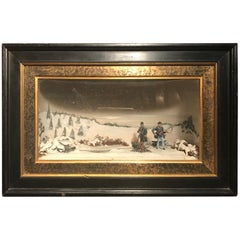 Vintage Civil War Camp Fire Diorama Framed Shadow Box Museum Deaccession