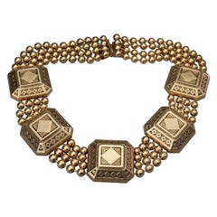 Vintage CLAIRE DEVE Square Charms Multi Layer Ball Chain Necklace
