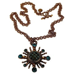 Vintage CLAIRE DEVE Sunburst Rhinestone Long Necklace
