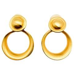 Vintage Clara Matt Gold Hoop Earrings 1990S