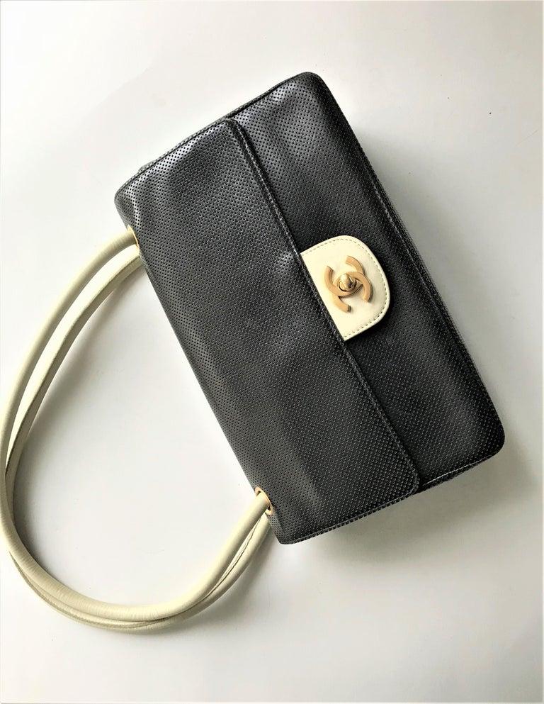 Black Vintage classic CHANEL bag calf skin black/white 1990/95  For Sale