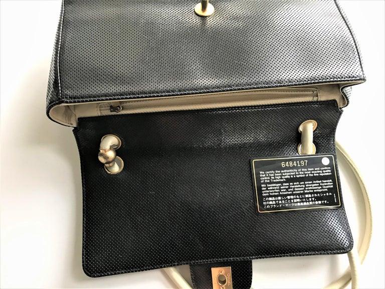 Vintage classic CHANEL bag calf skin black/white 1990/95  For Sale 2