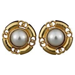 Vintage Classic CHANEL Logo Pearl Earrings