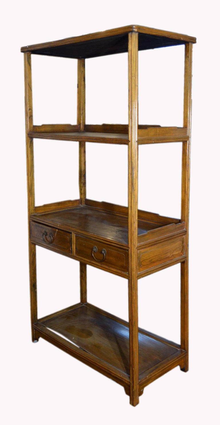 A chinese early 20th century classic design bookcase with four shelves and two drawers crafted