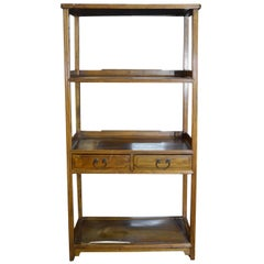 Vintage Classic Design Early 20th Century Chinese Wooden Bookshelf with Drawers