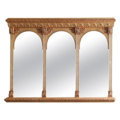 Vintage Classical Giltwood Triptych over Mantle Mirror, 20th Century