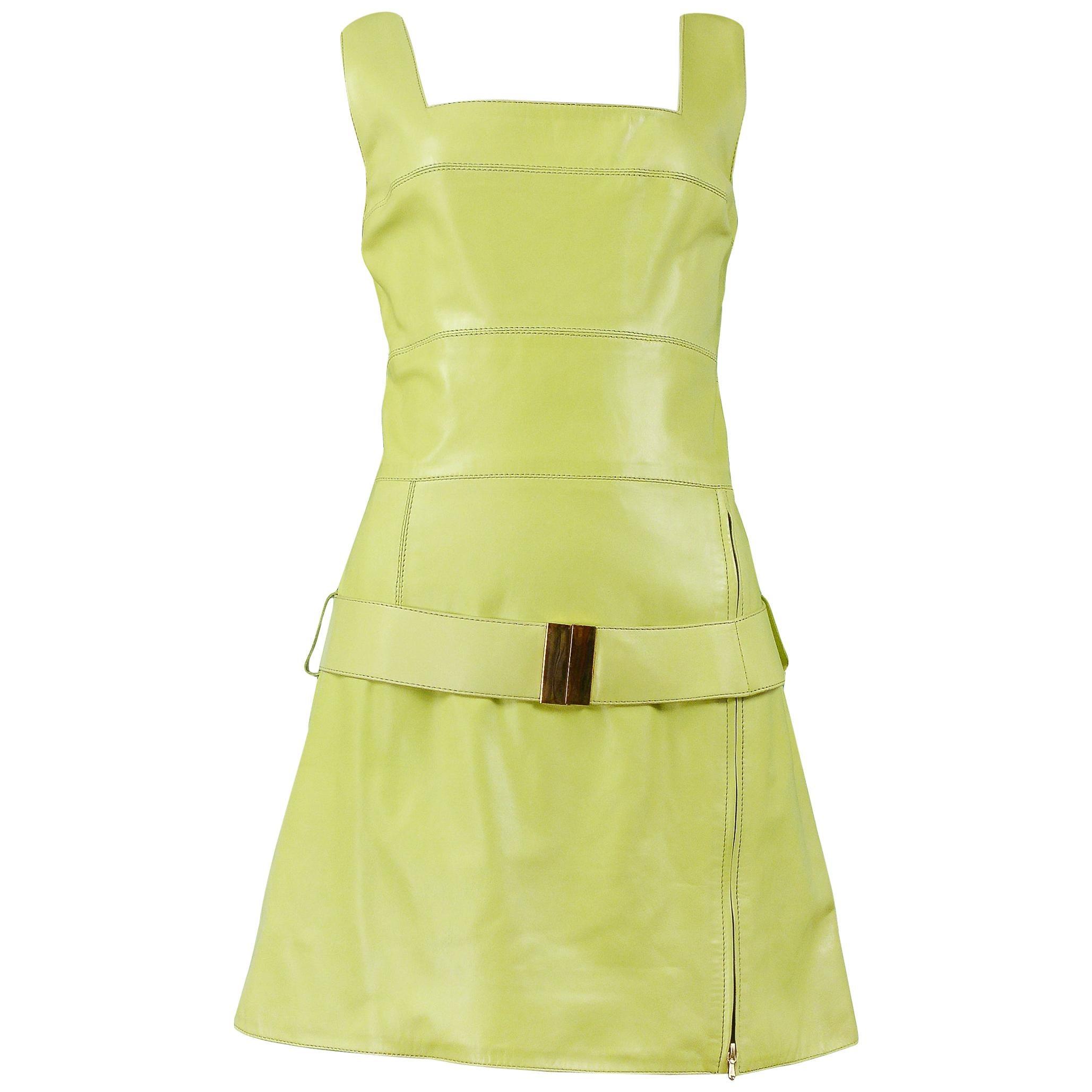 Vintage Claude Montana Chartreuse Green Leather Dress & Belt