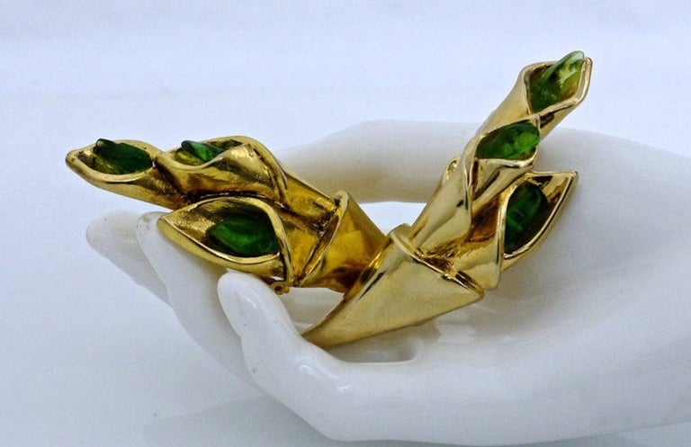 Vintage Claude Montana for Claire Deve Green Stones Bouquet Earrings  Measurements: Height: 3 2/8 inches Width: 1 inch Depth: 7/8 inch  Features: - 100% Authentic CLAUDE MONTANA pour CLAIRE DEVE. - Very RARE piece. - Huge 3D bouquet embellished with
