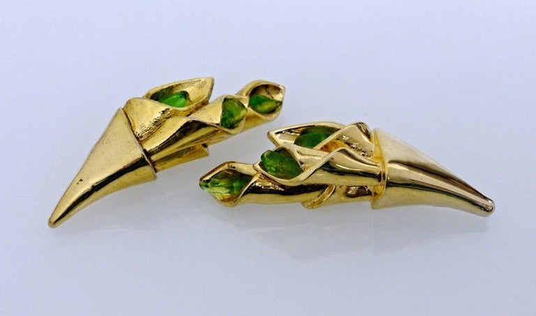 Women's Vintage Claude Montana for Claire Deve Green Stones Bouquet Earrings For Sale
