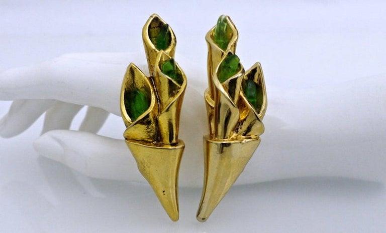 Vintage Claude Montana for Claire Deve Green Stones Bouquet Earrings For Sale 1