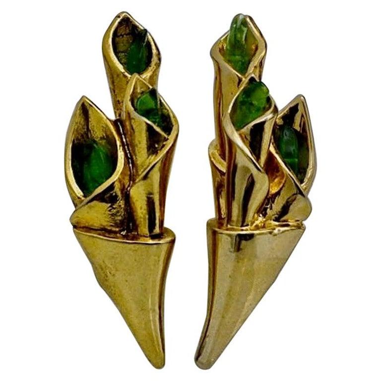 Vintage Claude Montana for Claire Deve Green Stones Bouquet Earrings For Sale
