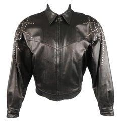 Vintage CLAUDE MONTANA Jacxket - US 40 / IT 50 - Black Leather Silver Studded