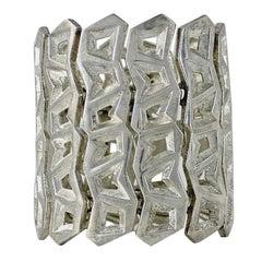 Vintage CLAUDE MONTANA Pour Marie Paris Geometric Articulated Silver Cuff Bracel
