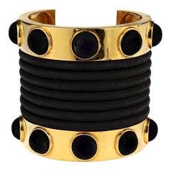 Vintage CLAUDE MONTANA Pour Marie Paris Gold Black Velvet Rubber Cuff Bracelet