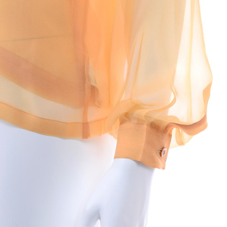 Vintage Claude Montana Sheer Blouse W/ Scarf & Camisole in Peach Silk For Sale 5