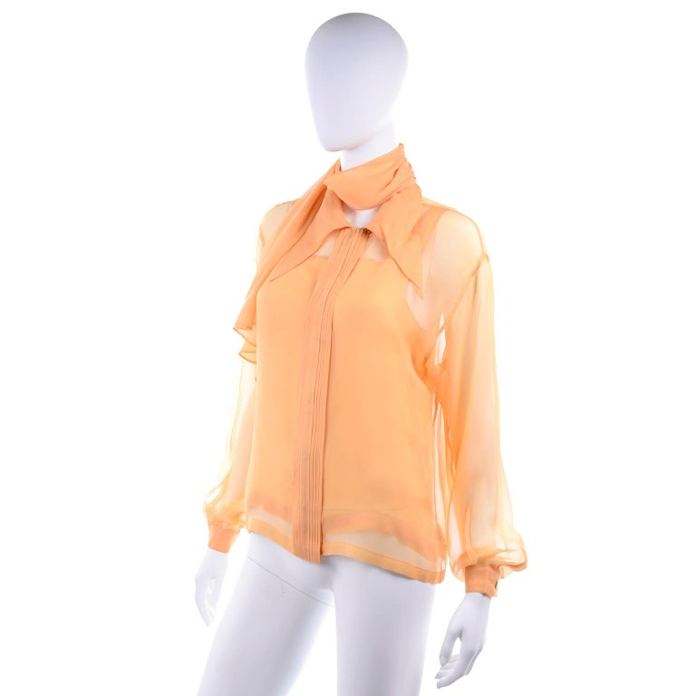 Orange Vintage Claude Montana Sheer Blouse W/ Scarf & Camisole in Peach Silk For Sale