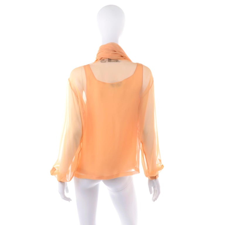 Women's Vintage Claude Montana Sheer Blouse W/ Scarf & Camisole in Peach Silk For Sale