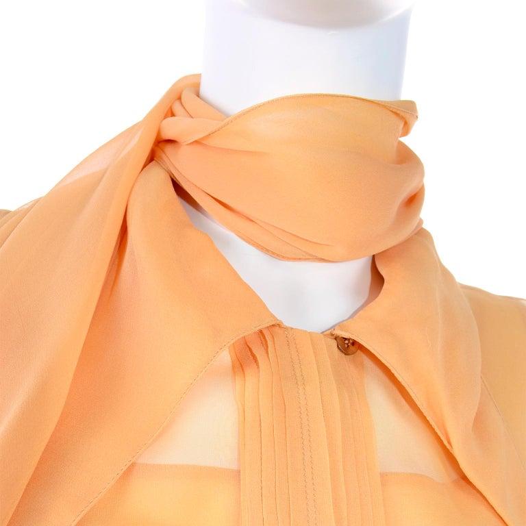Vintage Claude Montana Sheer Blouse W/ Scarf & Camisole in Peach Silk For Sale 4