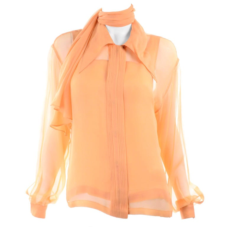Vintage Claude Montana Sheer Blouse W/ Scarf & Camisole in Peach Silk For Sale