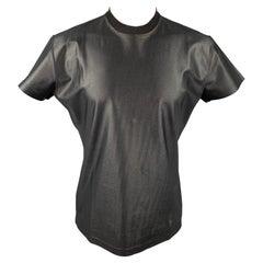 Vintage CLAUDE MONTANA Size XL Black Shimmery Polyamide Short Sleeve T-shirt