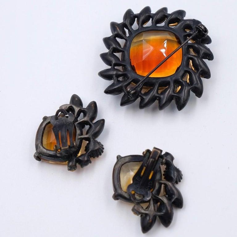 Women's or Men's Vintage Claudette Set Brooch and Earrings 1950's For Sale
