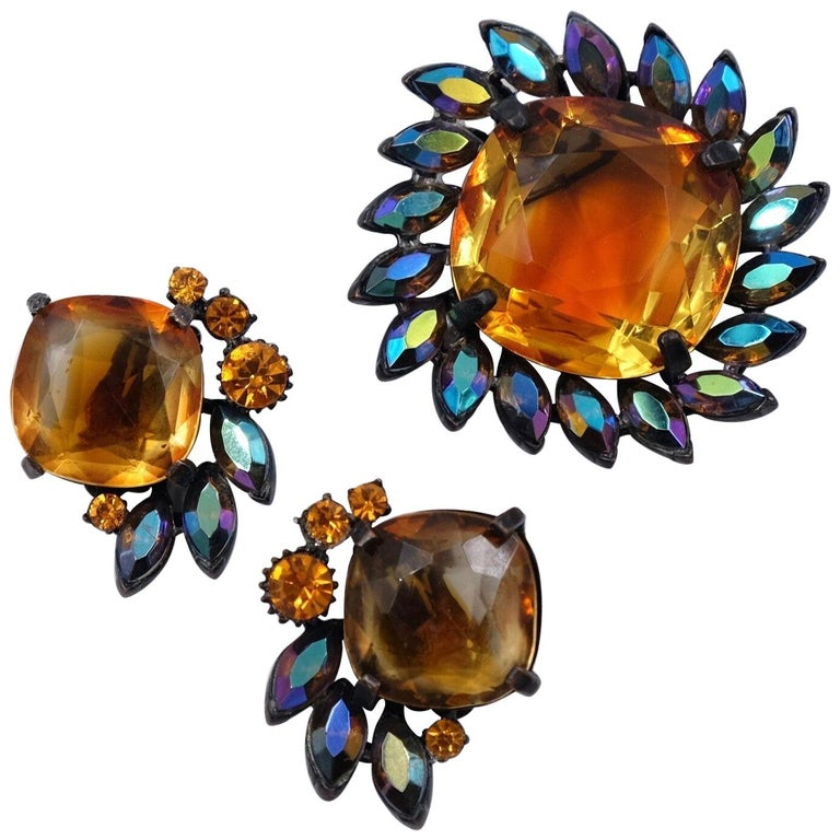 Vintage Claudette Set Brooch and Earrings 1950's For Sale