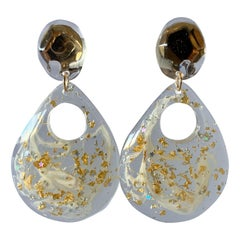 Vintage Clear Acrylic Gold Flake Statement Earrings