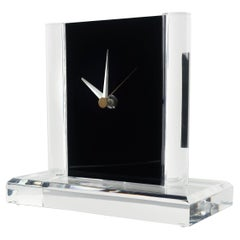 Vintage Clear & Black Lucite Clock