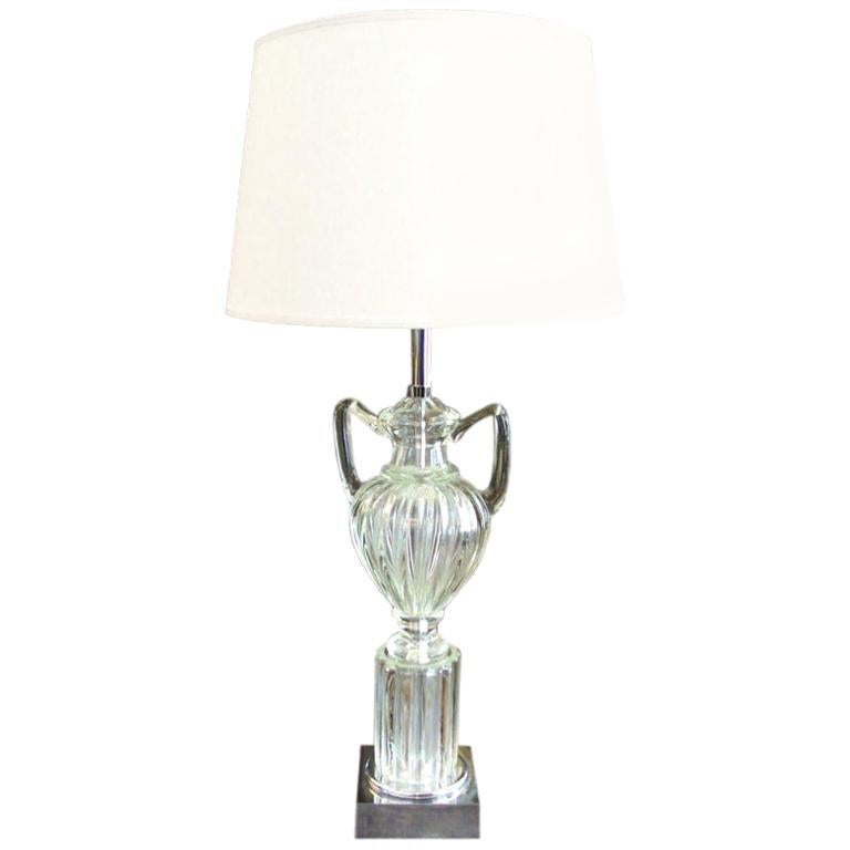 Vintage Clear Marbro Amphora Murano Table Lamp For Sale