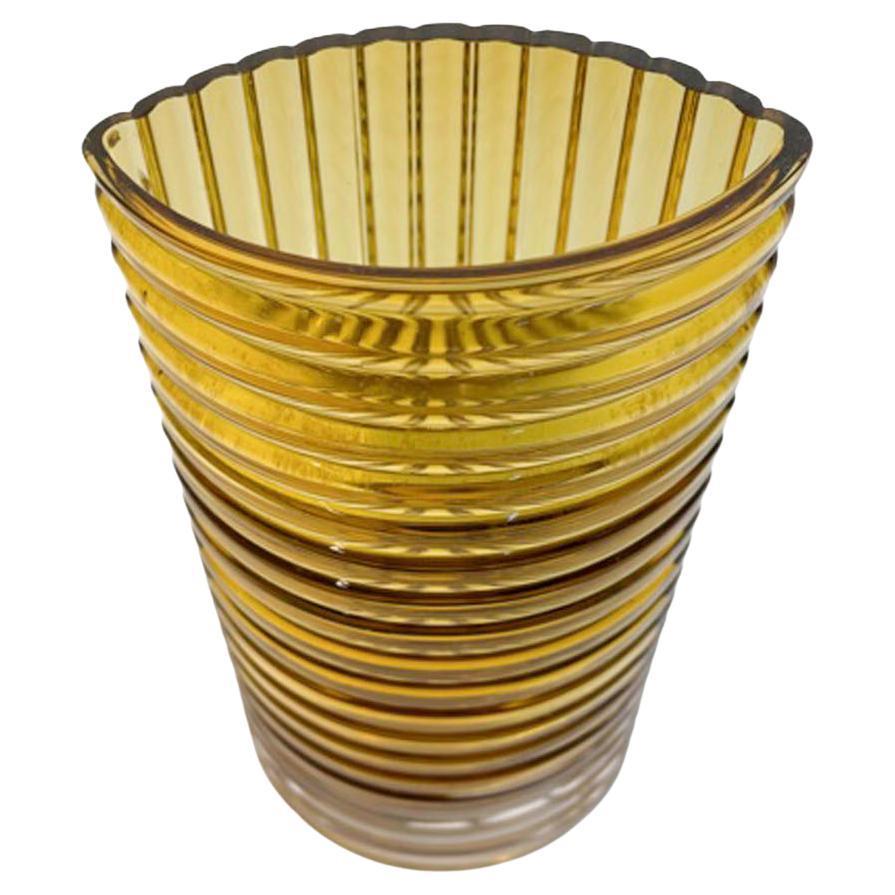 Vintage Clear Over Amber Lindshammar Vase of Elliptical Form