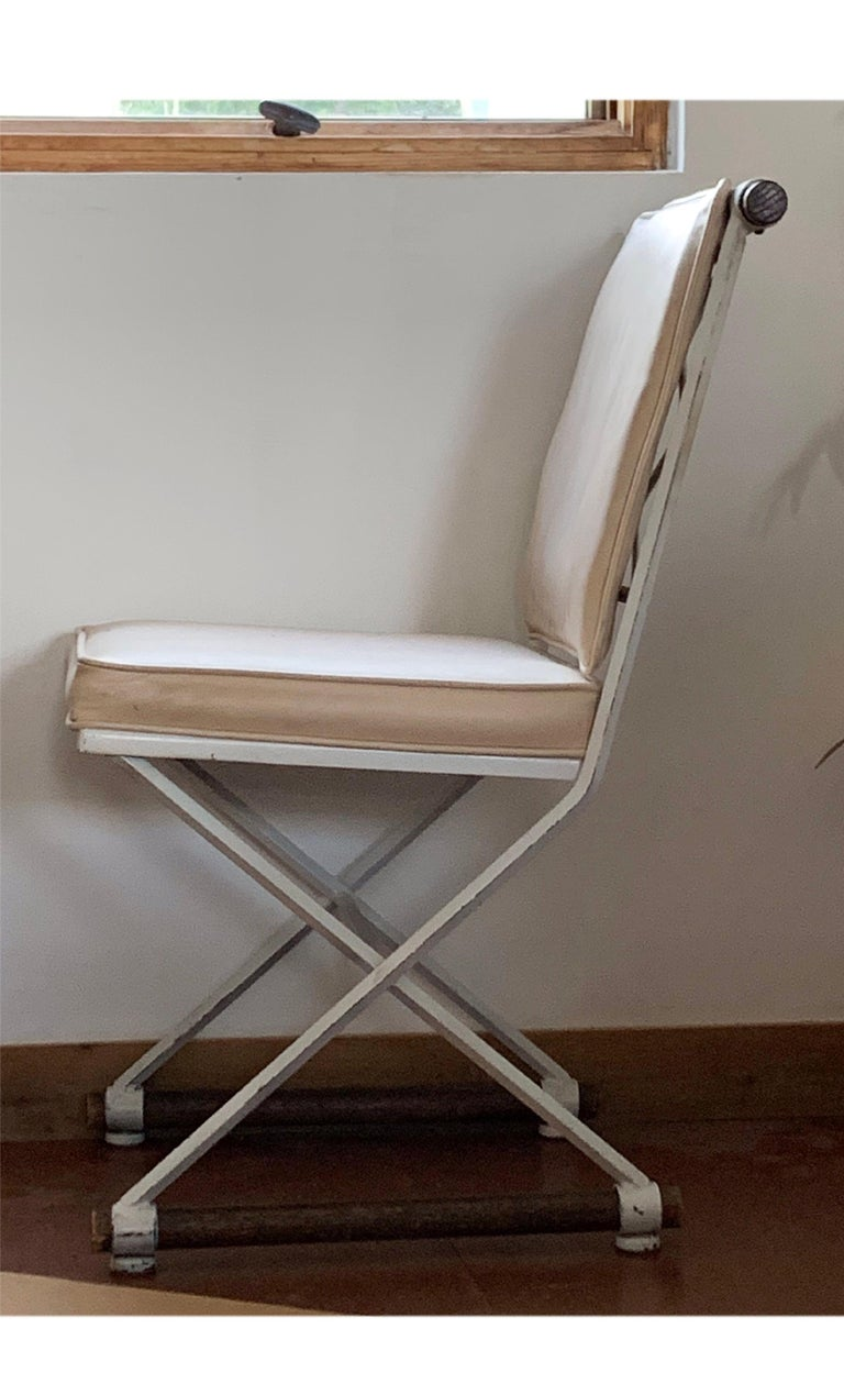 American Wrought Iron and Oak Cleo Baldon White Terra Dining Chair, Midcentury CLEARANCE