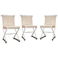 Vintage Cleo Baldon Terra White Wrought Iron & Oak Armless Directors Chair 1960s
