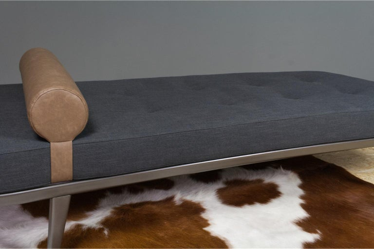 Mid-Century Modern Vintage Cleopatra Daybed by Andre Cordemeyer in Charcoal Grey Linen, 1953 For Sale