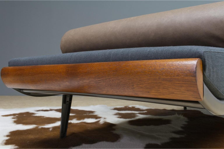 Dutch Vintage Cleopatra Daybed by Andre Cordemeyer in Charcoal Grey Linen, 1953 For Sale